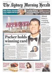 Sydney Morning Herald Newspaper Front Page (Australia) for 12 November 2013