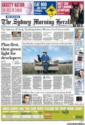 Sydney Morning Herald Newspaper Front Page (Australia) for 14 July 2012
