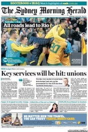 Sydney Morning Herald (Australia) Newspaper Front Page for 18 June 2013