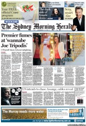 Sydney Morning Herald Newspaper Front Page (Australia) for 18 August 2012