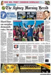 Sydney Morning Herald (Australia) Newspaper Front Page for 1 October 2011
