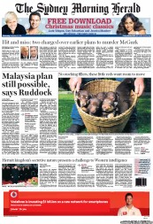 Sydney Morning Herald (Australia) Newspaper Front Page for 21 December 2011