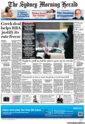 Sydney Morning Herald (Australia) Newspaper Front Page for 22 February 2012
