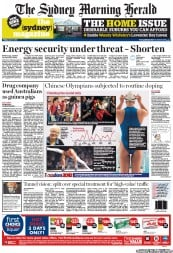 Sydney Morning Herald Newspaper Front Page (Australia) for 27 July 2012