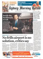 Sydney Morning Herald (Australia) Newspaper Front Page for 4 August 2015