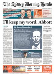 Sydney Morning Herald Newspaper Front Page (Australia) for 6 September 2013
