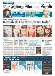 Sydney Morning Herald Newspaper Front Page (Australia) for 8 March 2014