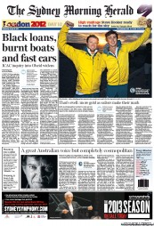 Sydney Morning Herald Newspaper Front Page (Australia) for 8 August 2012