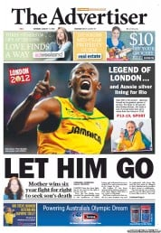The Advertiser Newspaper Front Page (Australia) for 11 August 2012