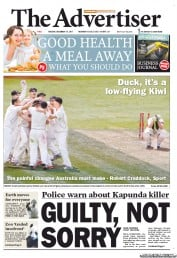 The Advertiser (Australia) Newspaper Front Page for 13 December 2011