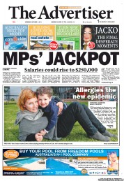 The Advertiser (Australia) Newspaper Front Page for 1 October 2011