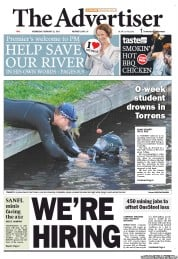 The Advertiser (Australia) Newspaper Front Page for 22 February 2012