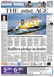 The Age Newspaper Front Page (Australia) for 10 August 2012