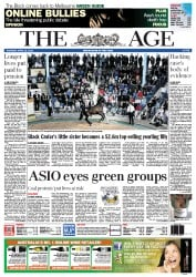 The Age (Australia) Newspaper Front Page for 12 April 2012