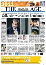 The Age Newspaper Front Page (Australia) for 13 December 2011