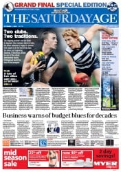 The Age (Australia) Newspaper Front Page for 1 October 2011