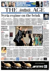The Age Newspaper Front Page (Australia) for 20 July 2012