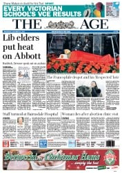 The Age (Australia) Newspaper Front Page for 21 December 2011