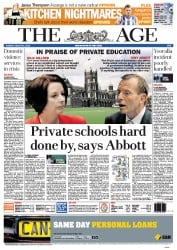 The Age Newspaper Front Page (Australia) for 21 August 2012