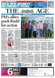 The Age (Australia) Newspaper Front Page for 22 February 2012