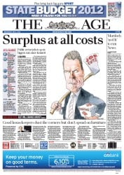 The Age (Australia) Newspaper Front Page for 2 May 2012