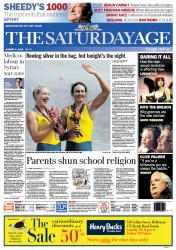 The Age Newspaper Front Page (Australia) for 4 August 2012