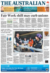 The Australian Newspaper Front Page (Australia) for 18 June 2012