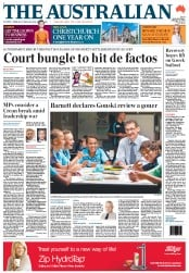 The Australian (Australia) Newspaper Front Page for 22 February 2012