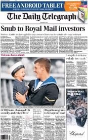 The Daily Telegraph Newspaper Front Page (UK) for 10 October 2013