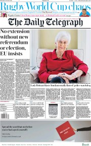 The Daily Telegraph (UK) Newspaper Front Page for 10 October 2019