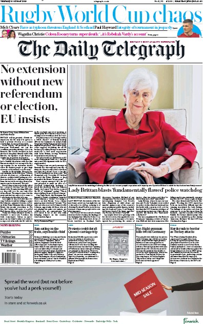 The Daily Telegraph Newspaper Front Page (UK) for 10 October 2019