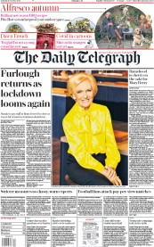 The Daily Telegraph front page for 10 October 2020