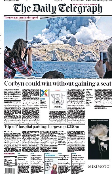 The Daily Telegraph Newspaper Front Page (UK) for 10 December 2019