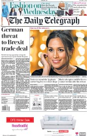 The Daily Telegraph (UK) Newspaper Front Page for 10 January 2018