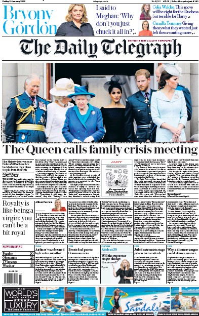 The Daily Telegraph Newspaper Front Page (UK) for 10 January 2020