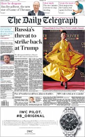The Daily Telegraph (UK) Newspaper Front Page for 10 April 2017