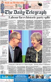 The Daily Telegraph (UK) Newspaper Front Page for 10 May 2017