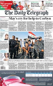 The Daily Telegraph (UK) Newspaper Front Page for 10 July 2017