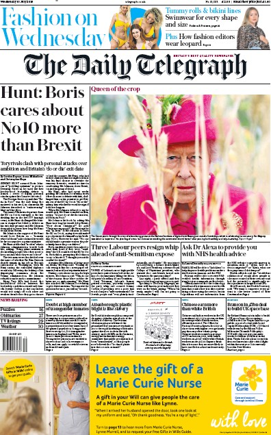 The Daily Telegraph Newspaper Front Page (UK) for 10 July 2019
