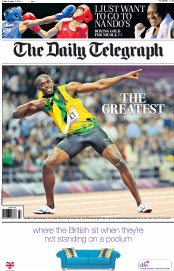 The Daily Telegraph Newspaper Front Page (UK) for 10 August 2012
