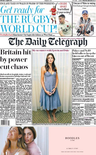 The Daily Telegraph Newspaper Front Page (UK) for 10 August 2019