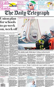 The Daily Telegraph front page for 10 August 2020