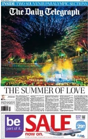 The Daily Telegraph Newspaper Front Page (UK) for 10 September 2012