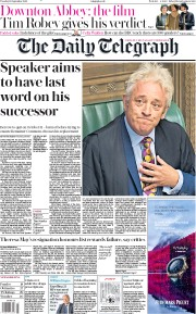 The Daily Telegraph (UK) Newspaper Front Page for 10 September 2019