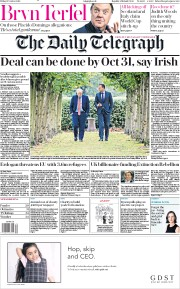 The Daily Telegraph (UK) Newspaper Front Page for 11 October 2019
