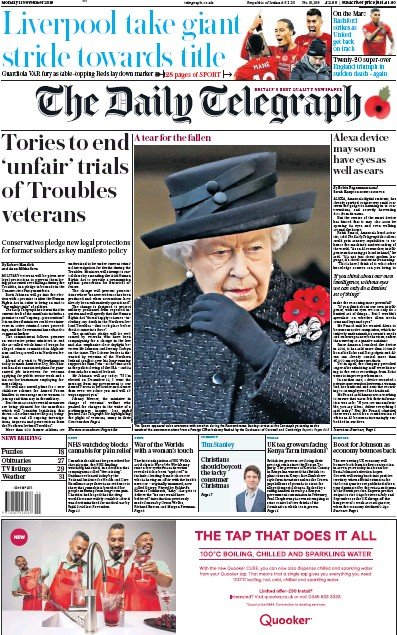 The Daily Telegraph Newspaper Front Page (UK) for 11 November 2019