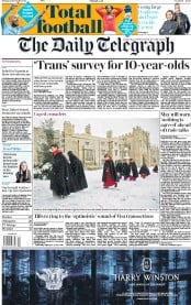 The Daily Telegraph (UK) Newspaper Front Page for 11 December 2017