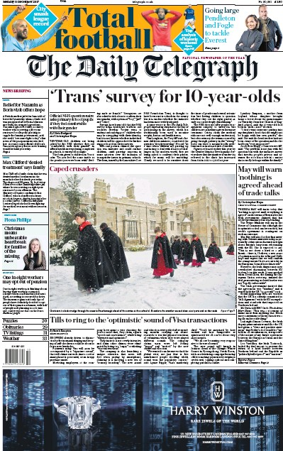 The Daily Telegraph Newspaper Front Page (UK) for 11 December 2017
