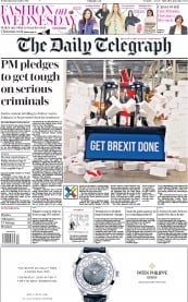 The Daily Telegraph () Newspaper Front Page for 11 December 2019