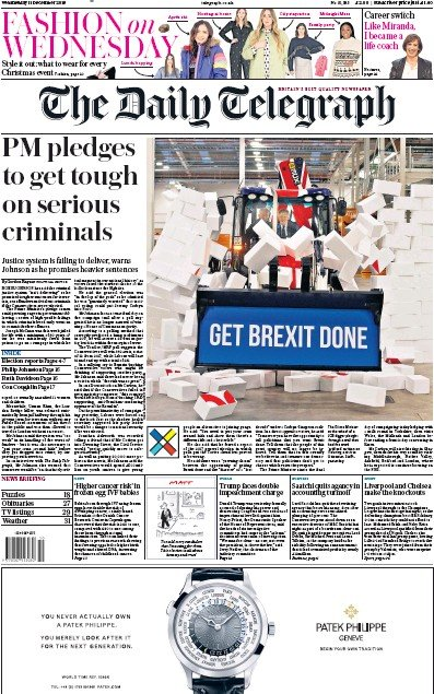 The Daily Telegraph Newspaper Front Page (UK) for 11 December 2019
